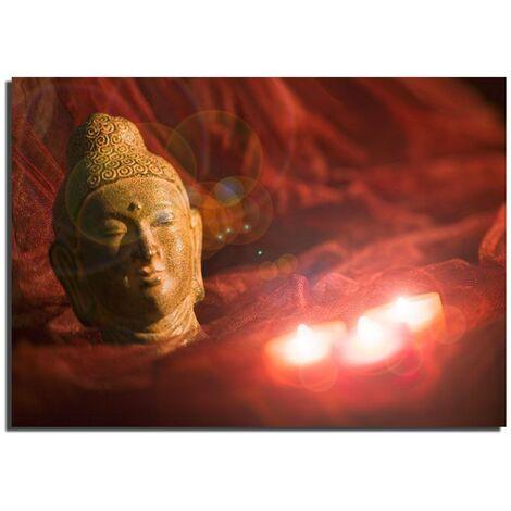 mural de la decoración dormitorio-salón LED lienzo Buda iluminado velas motivo Eglo 75039