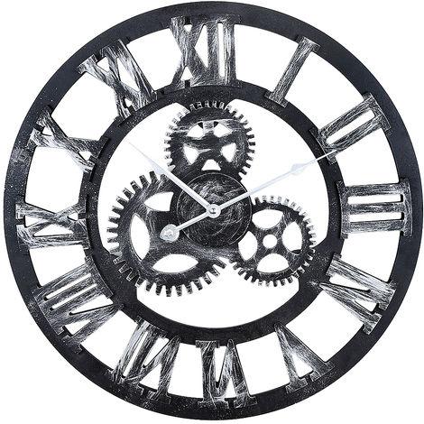 Murale 3D Vintage machinerie Home Decor Modern Design Horloge murale Horloge en métal Edena - noir - Horloge géante vintage