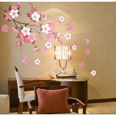 Murale Stickers Peach Blossom Fleur Papillon Wall Mur Papier Décoration Art DIY