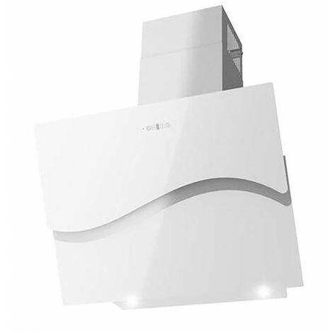 MURCIA   Hotte aspirante moderne cuisine 60 cm   Extraction/Recyclage   Panneau tactile Verre + INOX   LED télécommande   Blanc - Blanc