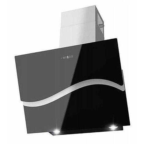 MURCIA   Hotte aspirante moderne cuisine 60cm   Extraction/Recyclage   Panneau tactile Verre + INOX   LED télécommande   Noir - Noir