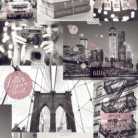 Muriva Big City Wallpaper New York Photo Pattern Glitter Motif Typography (Orange L31005)