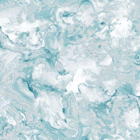 Muriva Elixir Liquid Marble Effect Wallpaper Swirls Teal Silver Metallic Shimmer