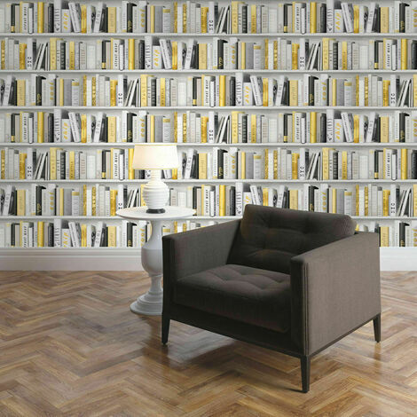 Muriva Fashion Library Bookshelf Gold Metallic Glitter Books Wallpaper 139503