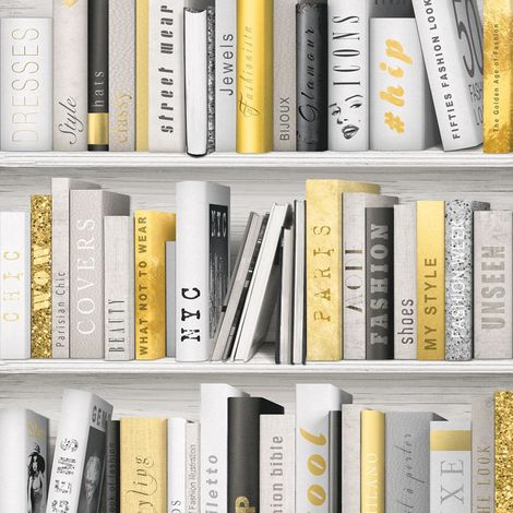 Muriva Fashion Library Gold Wallpaper