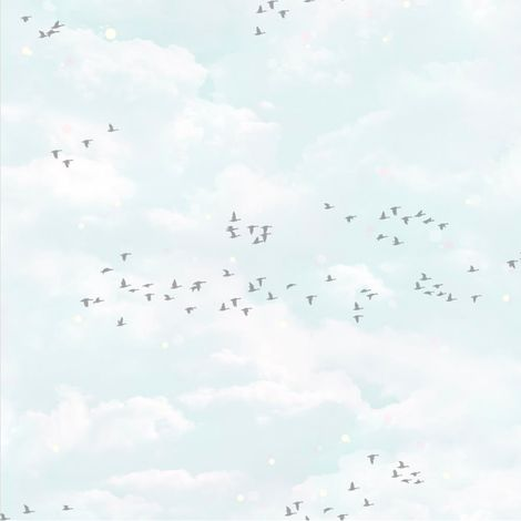Muriva Fly Way Wallpaper Blue White Clouds Sky Birds Animal Print Metallic