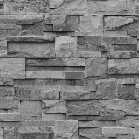 Muriva Grey Charcoal Slate 3D effect Stone Brick Wall Textured Viny Wallpaper