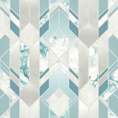 Muriva Heavyweight Elixir Geometric Metallic Marble Silver Teal Wallpaper
