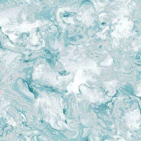 Muriva Heavyweight Elixir Liquid Marble Metallic Teal Silver Wallpaper