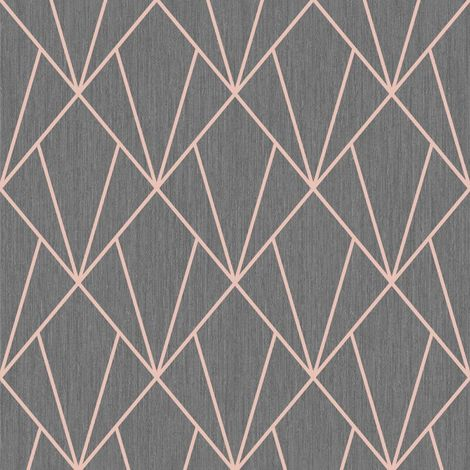 Muriva Indra Geometric Charcoal/ Rose Gold Wallpaper