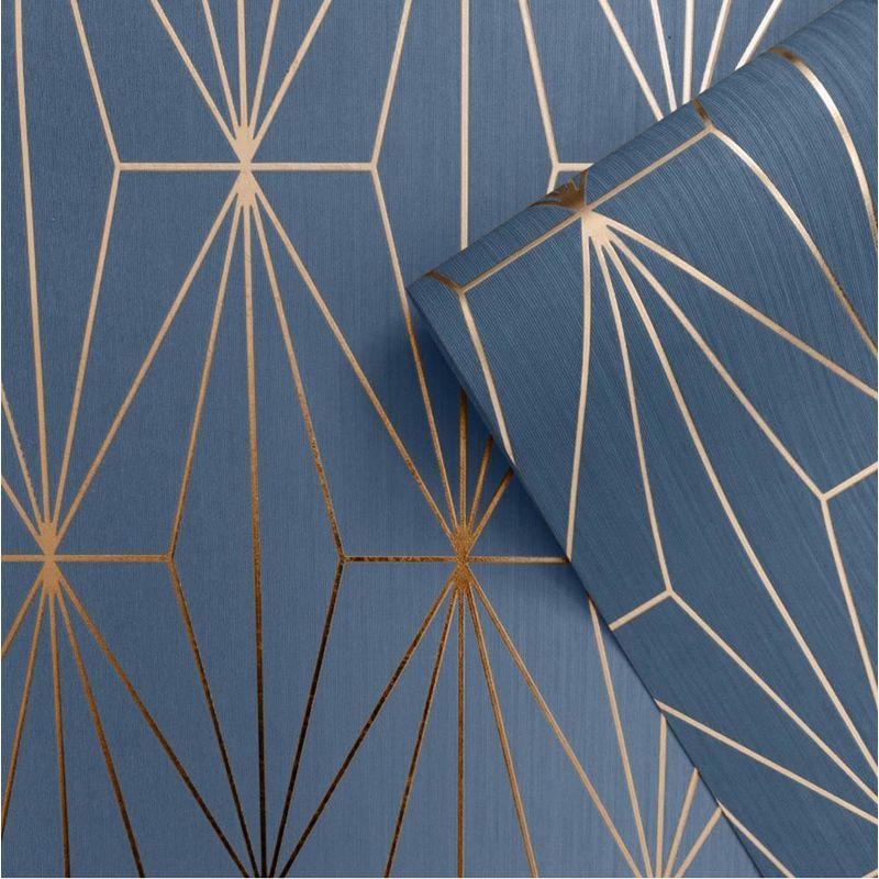 Image of Blue Bronze Metallic Geometric Wallpaper Triangles Vinyl Embossed Kayla - Muriva