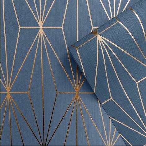 Muriva Kayla Blue/ Bronze Wallpaper