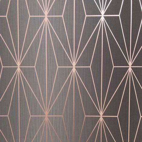 Muriva Kayla Charcoal/ Rose Gold Wallpaper