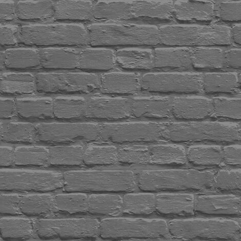 Muriva L22629 Painted Brick Wallpaper, Black, Set of 12 Pieces