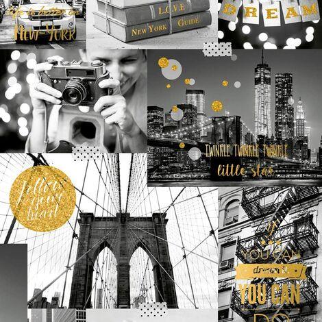 Muriva L31002 Bright Lights Big City Wallpaper, Gold, Set of 12 Pieces