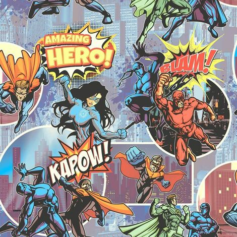 Muriva L31501 Heroes Wallpaper, Multi-Colour, Set of 12 Pieces