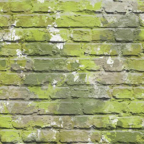 Muriva L33504 Camouflage Brick Wallpaper, Green, Set of 12 Pieces