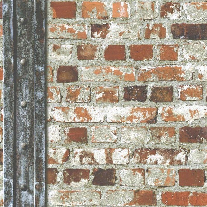 Image of Loft Brick Effect Wallpaper Orange Grey Stone Slate Rustic Weathered Beam Muriva