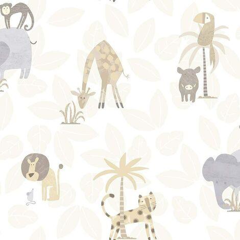 Holden Decor Make Believe Jungle Friends Neutral Wallpaper 12540 - Kids Childrens