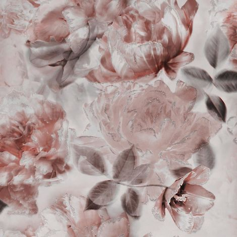 Muriva London translucent bloom wallpaper Smooth paper finish, Quality wallpaper,floral design,Easy to hang (Red)