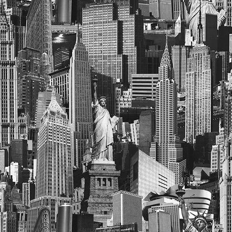 Muriva Ltd 102503 12 Rolls Novelties New York Wallpaper, Black and White, Medium, Set of 12 Pieces