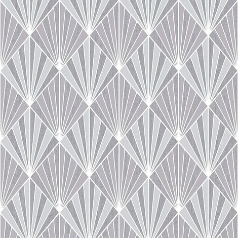 Muriva Ltd Muriva Aster Geometric Diamond Tiles Glitter Shimmer Wallpaper Blown Vinyl 10m Roll Silver 156101