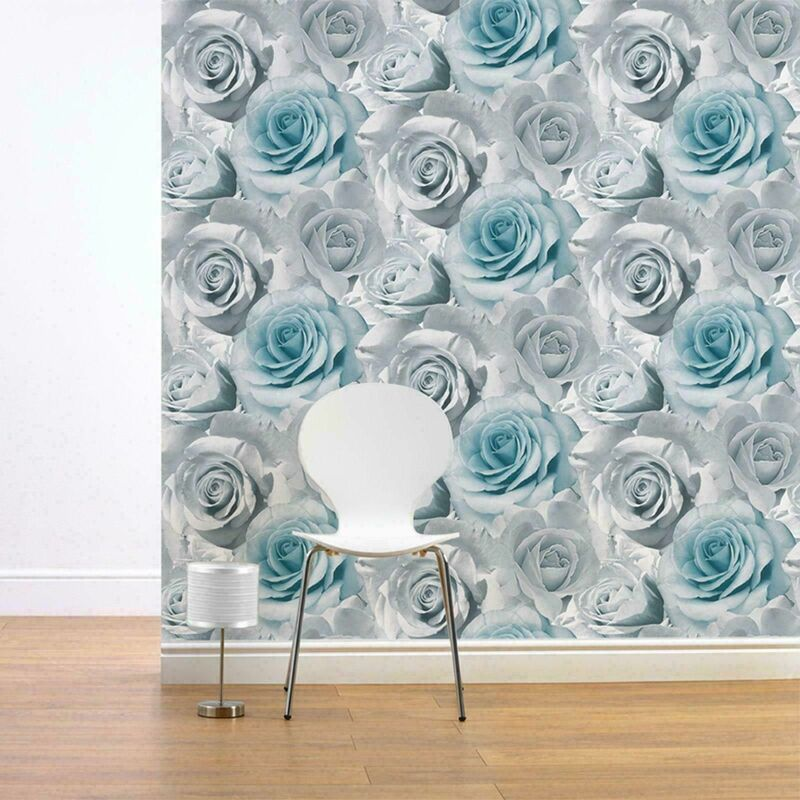 Image of Madison Floral Flower Rose Bloom Blue Silver Grey Feature Wallpaper - Muriva