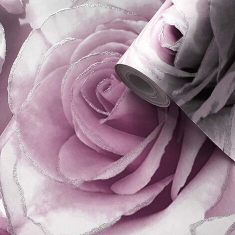 Muriva Madison Glitter Amethyst Wallpaper 139522 - Flower Floral Large Roses Pink