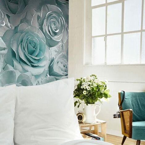 Muriva Madison Glitter Aqua Wallpaper 139523 - Flower Floral Large Roses Blue