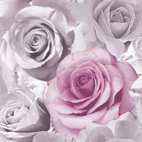 Muriva Madison Floral Flower Rose Bloom Pink Feature Wallpaper