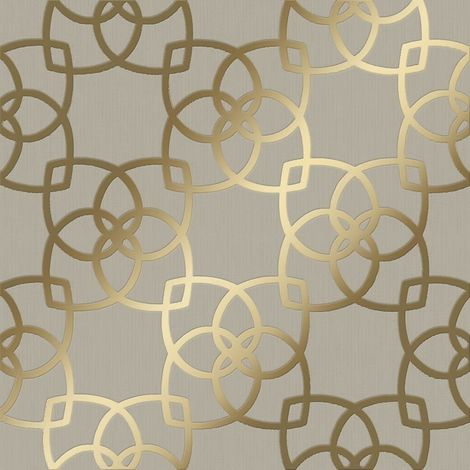 Muriva Marrakesh Geometric Wallpaper Gold Champagne Metallic Vinyl Textured