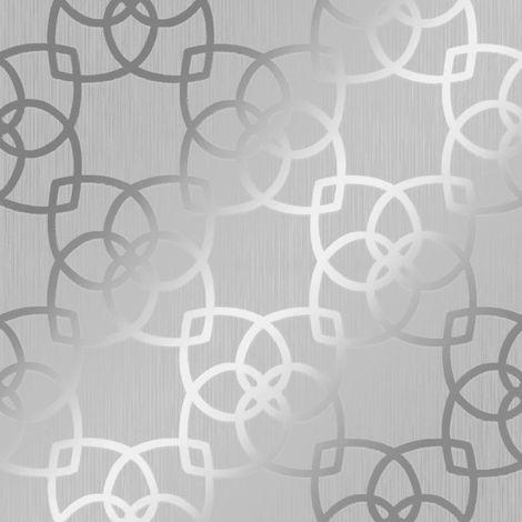 Muriva Marrakesh Geometric Wallpaper Silver Grey Metallic Vinyl Textured Lines