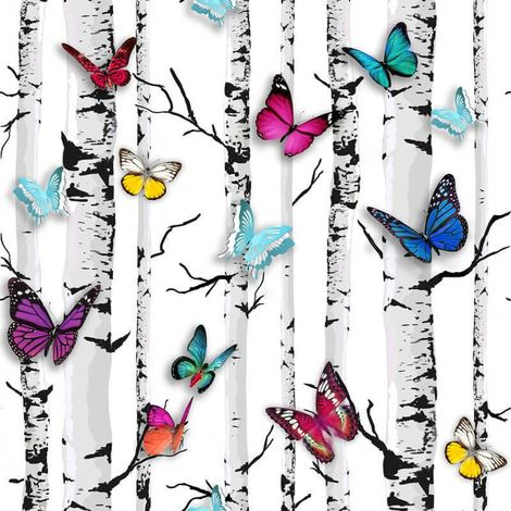 Muriva Multi Colour Butterflies Trees Birch Garden Emperor Feature Wallpaper
