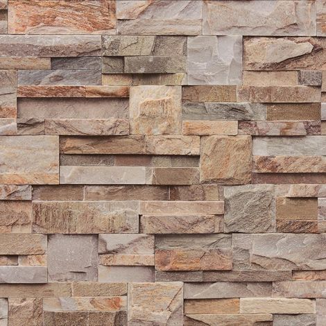 Muriva Natural Slate Brown/ Orange Wallpaper