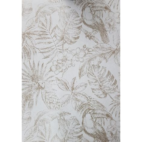 Muriva Sankuru Metallic Tropical Wallpaper Birds Floral Leaf Light Grey Gold
