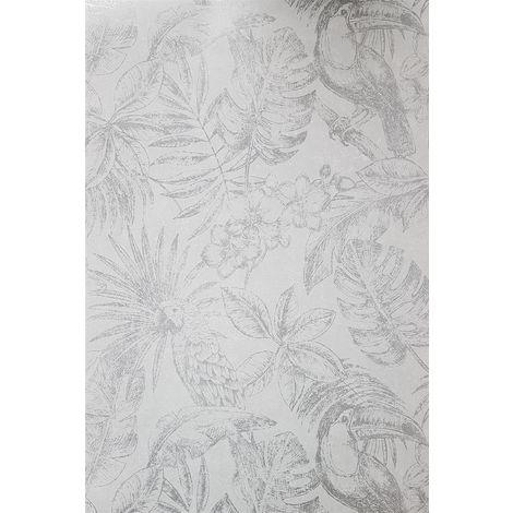 Muriva Sankuru Metallic Tropical Wallpaper Birds Floral Leaf Light Grey Silver