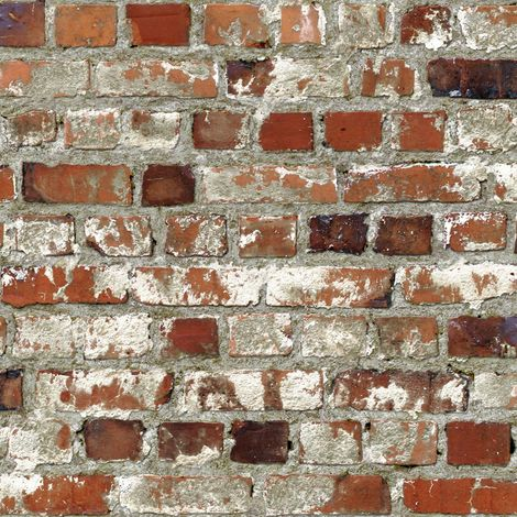 Muriva Stone Brick Wall effect Wallpaper Brown Orange Bricks Realistic Outdoor
