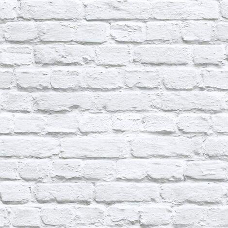 Muriva - White / Grey Painted White Washed Brick Effect Wallpaper - 102539