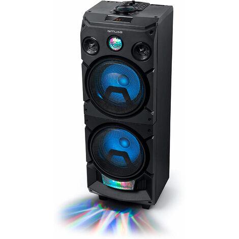 "main image of ""Muse m-1935 dj black party speaker 400w with bluetooth radio fm usb aux 2x mics"""