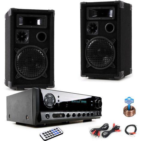 musikanlage mit pa boxen und bluetooth verst rker dj compact 8 dj compact8. Black Bedroom Furniture Sets. Home Design Ideas