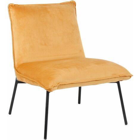 Mustard Velvet Pillow Upholstered Leo Lounge Chair, W57xD59xH66 cm