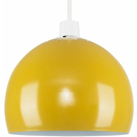 Mustard & White Metal Arco Ceiling Pendant Light Shade