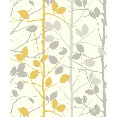 Mustard Yellow Grey Woodland Wallpaper Forest Trees Branches Metallic Arthouse