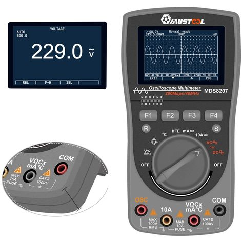Mustool Intelligent Mds8207 Digital Storage Scopemeter Enhanced 2 In 1 Digital 40 Mhz 200 Mps / S One-Touch Auto Oscilloscope Osc 6000 Meters Multimeter Rms True Dmm Current Voltage Tester Ac / Dc Dmm
