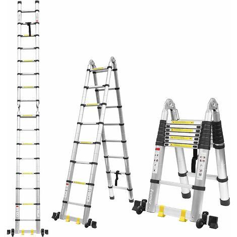MVPOWER 3.8M Escalera Plegable Aluminio, Escalera Telescópica(1,9M+1,9M), Escalera Alta Multifuncional Portátil para Loft,12 Escalones Antideslizantes y Ruedas en Parte Inferior, 150kg