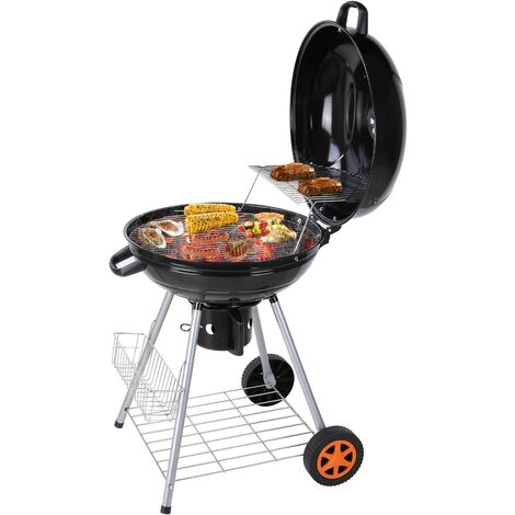 MVPOWER Barbecue à Charbon de Bois 22'' Ø 57 cm BBQ Grill Ronde en Émail Noir FUMOIR Smoker Mobile à roulettes Système d'aération avec Couvercle Réversible et Thermomètre intégré pour Camping au Jardin