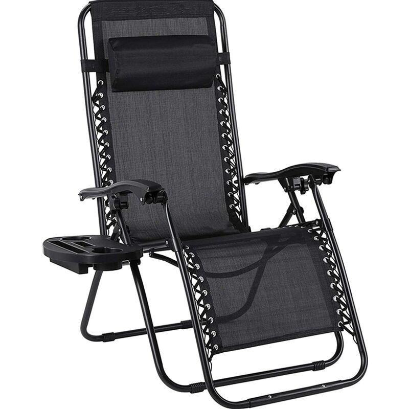 Chaise longue de jardin, pliable, avec porte-gobelets et coussin appuie-tête, réglable, fauteuil ergonomique et respirant avec structure en acier,