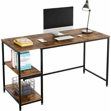 MVPOWER Desk PC Table Mesa de ordenador con estantes Mesa de oficina Mesa de trabajo Madera Metal Vintage Negro Diseño industrial 140x60x76cm (L x W x H)