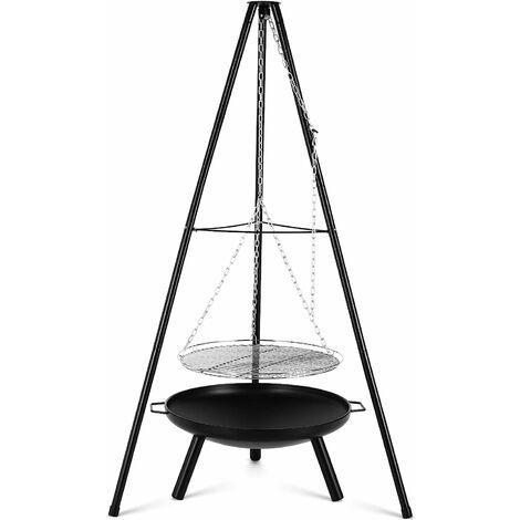 MVPOWER Gril Pivotant, avec Brasero Extérieur Ø60cm avec Grille Ø52cm, Trépied Télescopique de 1,52 m et Chaîne Réglable en Hauteur (200 cm) pour Cuisinière Suspendue Domestique ou Camping en Plein air