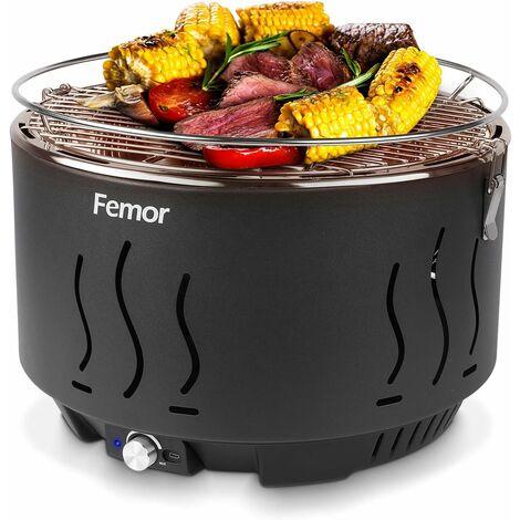 MVPOWER Grill Barbecue Portable, Barbecue au Charbon de Bois Sans Fumée,avec Sacs de Rangement et USB ou ventilateur à piles, 3 Minutes de Préchauffage, pour Famille, Jardin, Balcon, Camping, 35x35x25cm